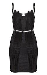 Black Strappy Lace Velvet Insert Bodycon Dress 3