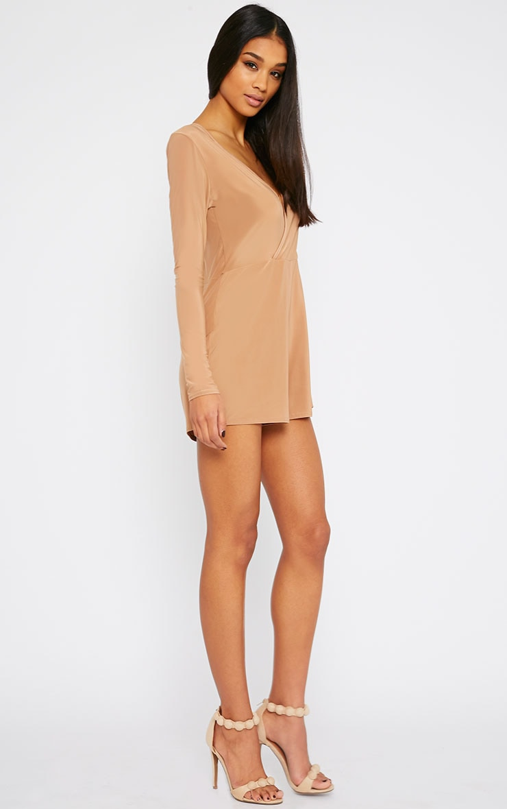 Tilly Camel Slinky Wrap Over Playsuit 3