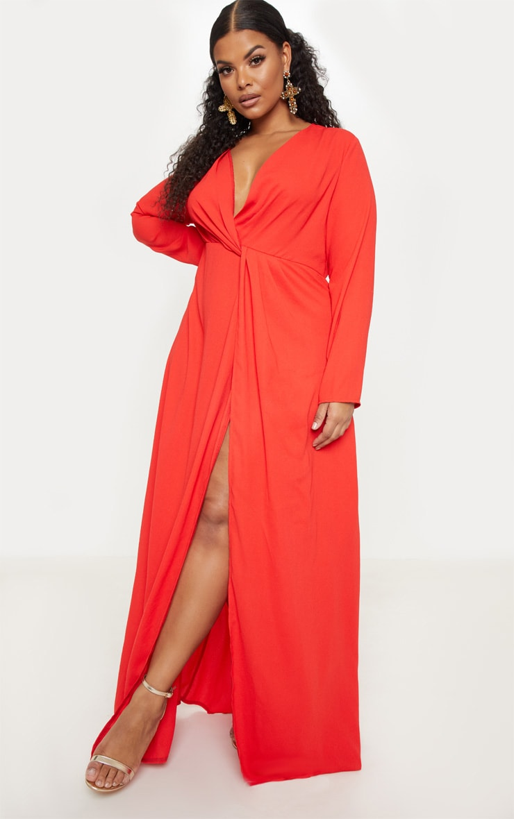Plus Red Twist Front Maxi Dress 4