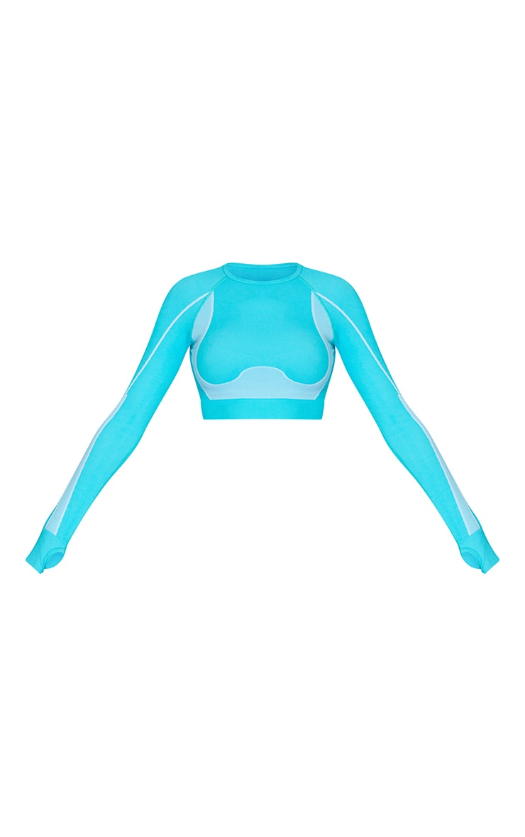 Blue Seamless Contrast Marl Long Sleeve Cut Out Back Gym Top 5