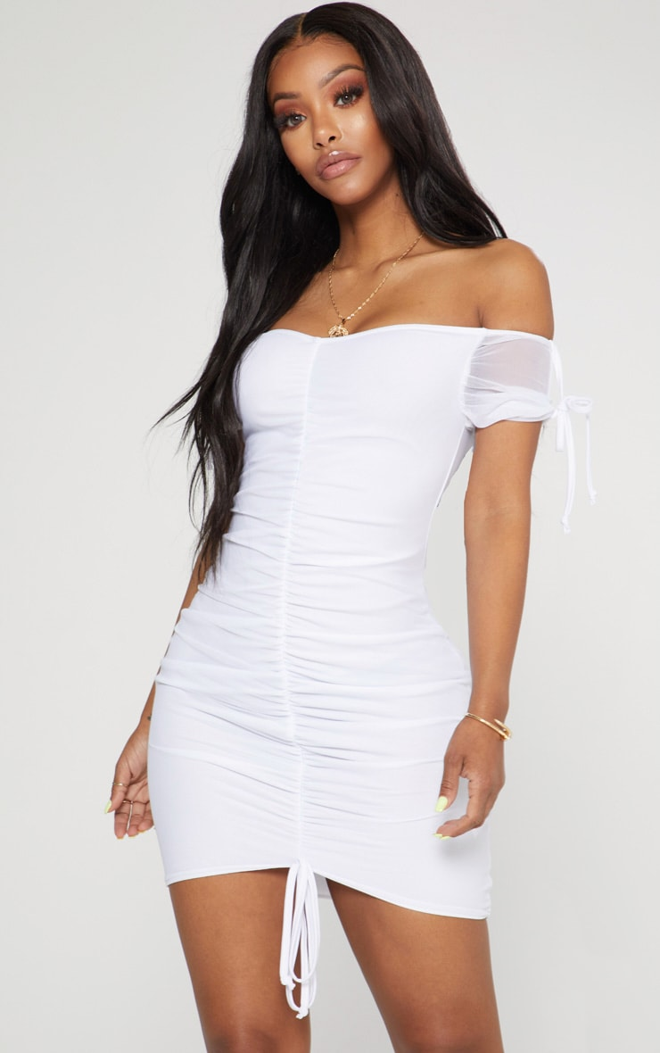 Shape White Ruched Mesh Bardot Bodycon Dress 1