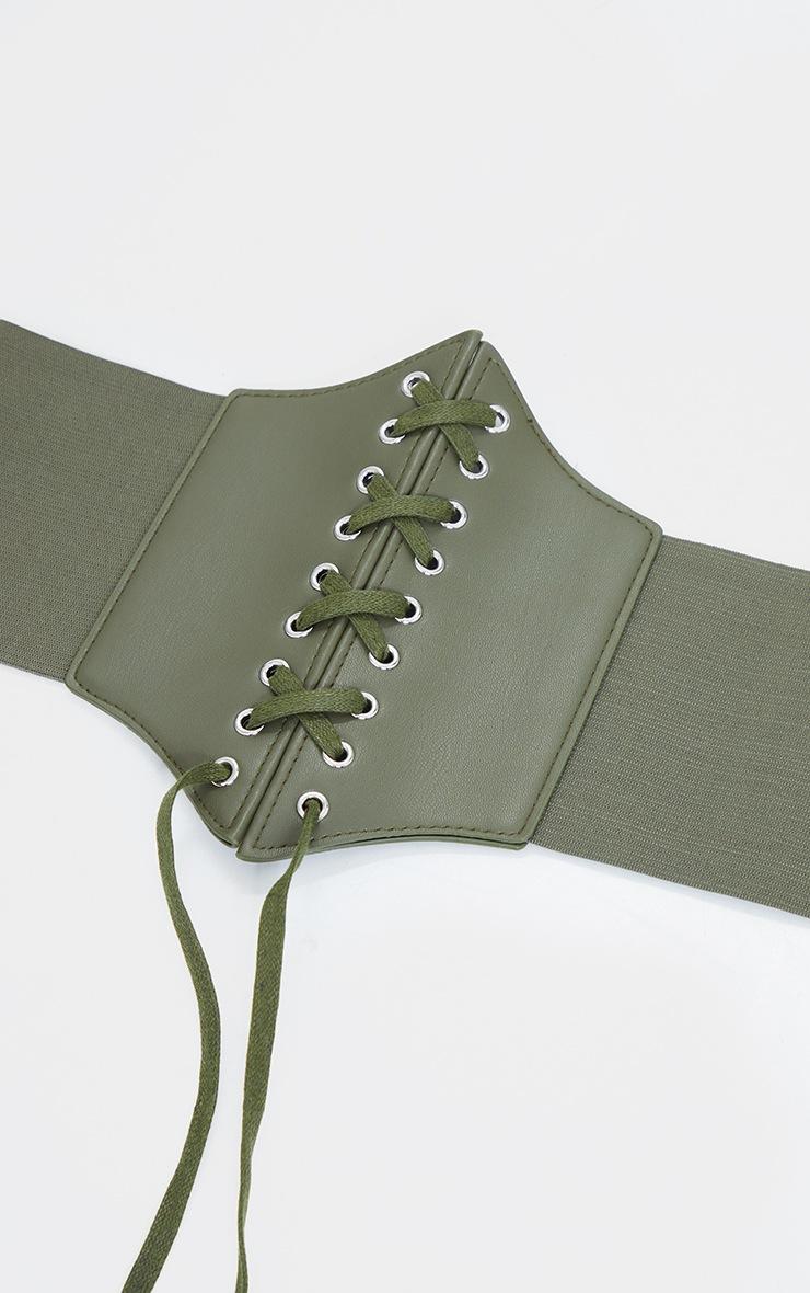 Khaki Lace Up PU Corset Belt 3