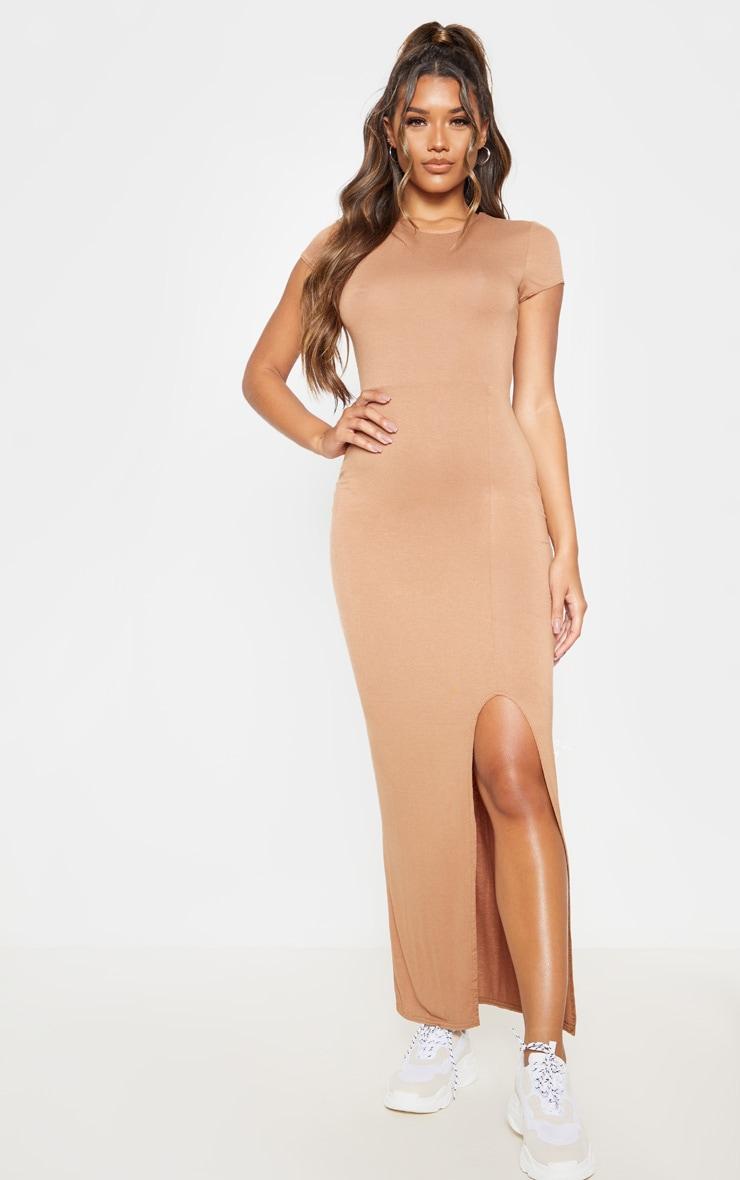 Camel Short Sleeve Split Maxi Dress 1