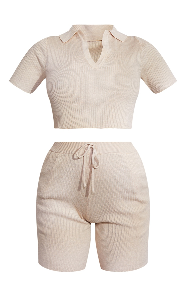 Stone Premium Ribbed Knitted Collar Detail Shorts Set 5