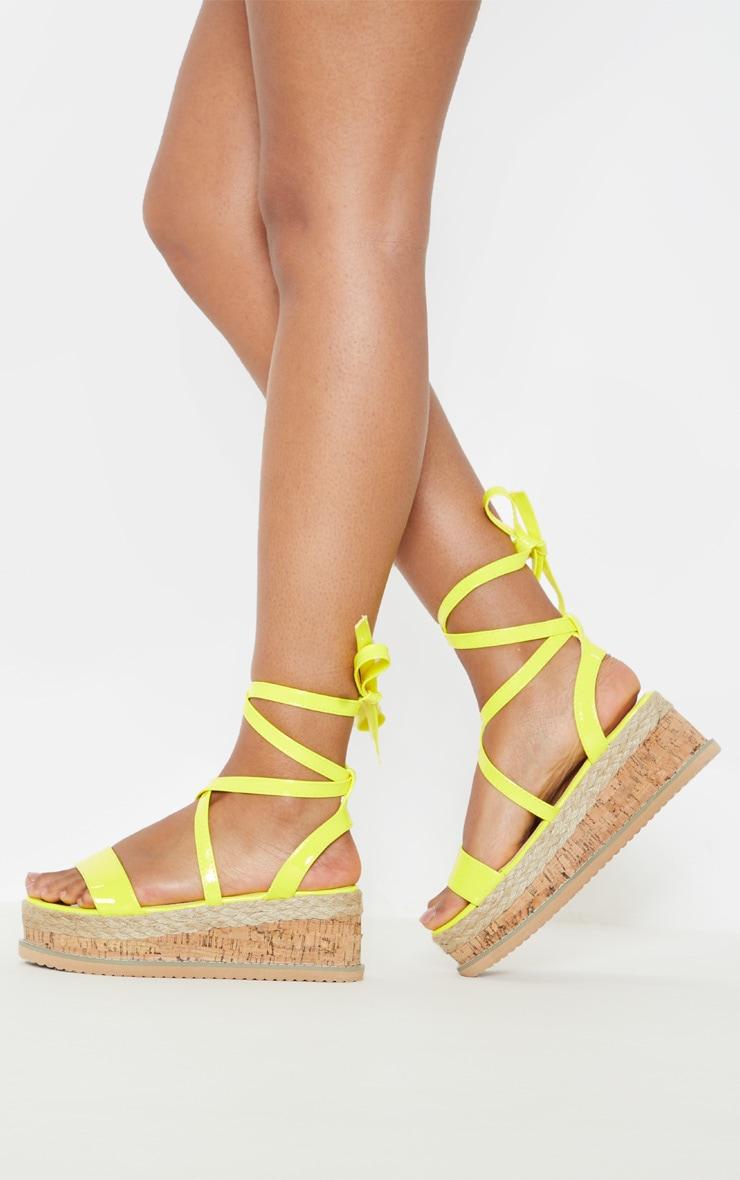 Yellow Neon Flatform Espadrille Sandal 2