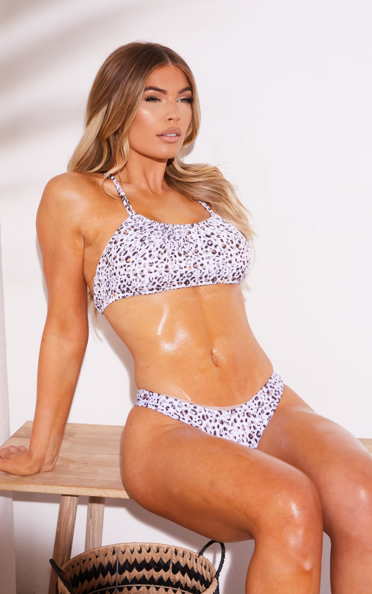 White Leopard Ruched Front Bikini Top 1