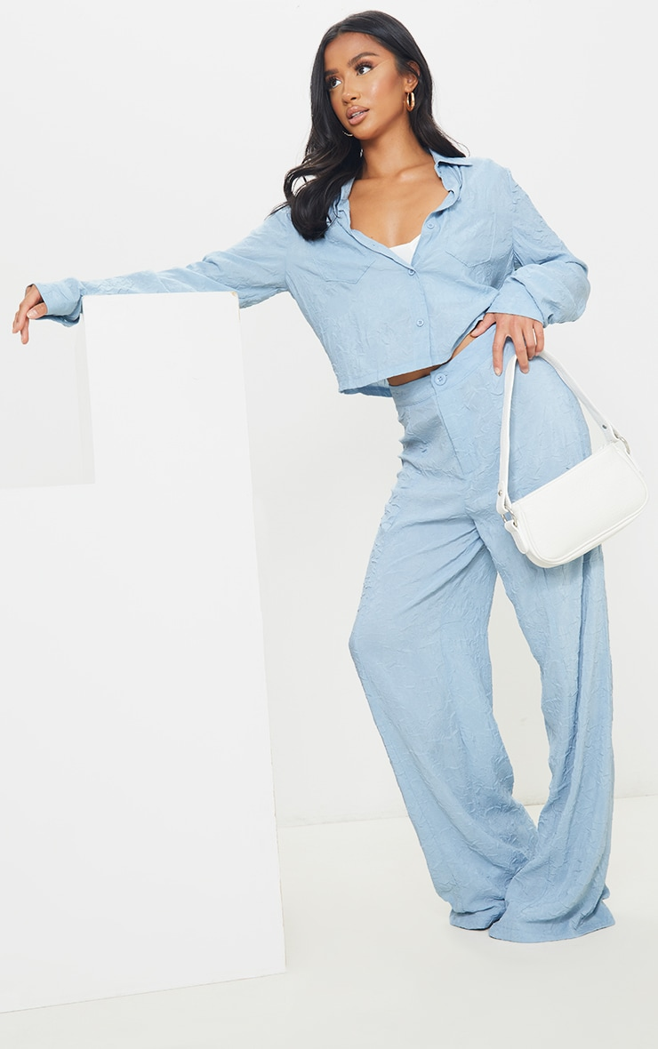 Petite Baby Blue Lightweight Crinkle Cropped Shirt 3