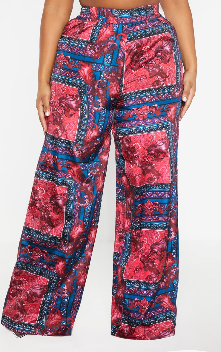 Plus Burgundy Scarf Print Wide Leg Pants  2
