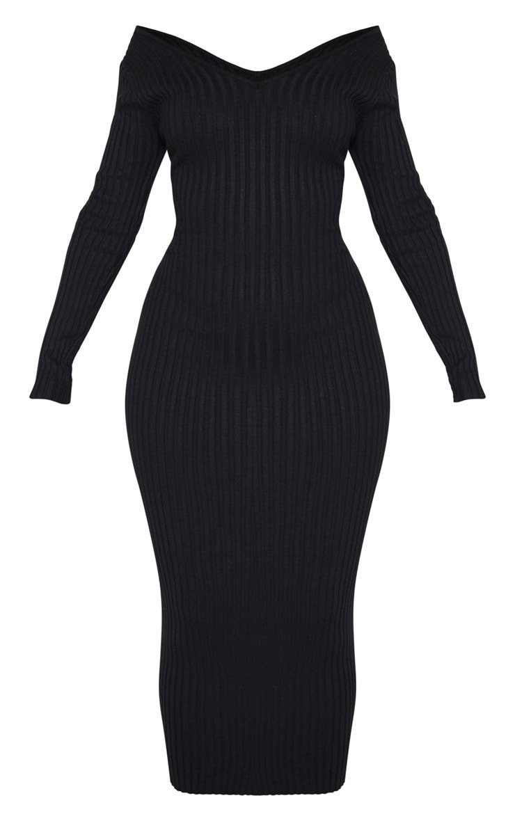 Black Off Shoulder Rib Knitted Midaxi Dress 3
