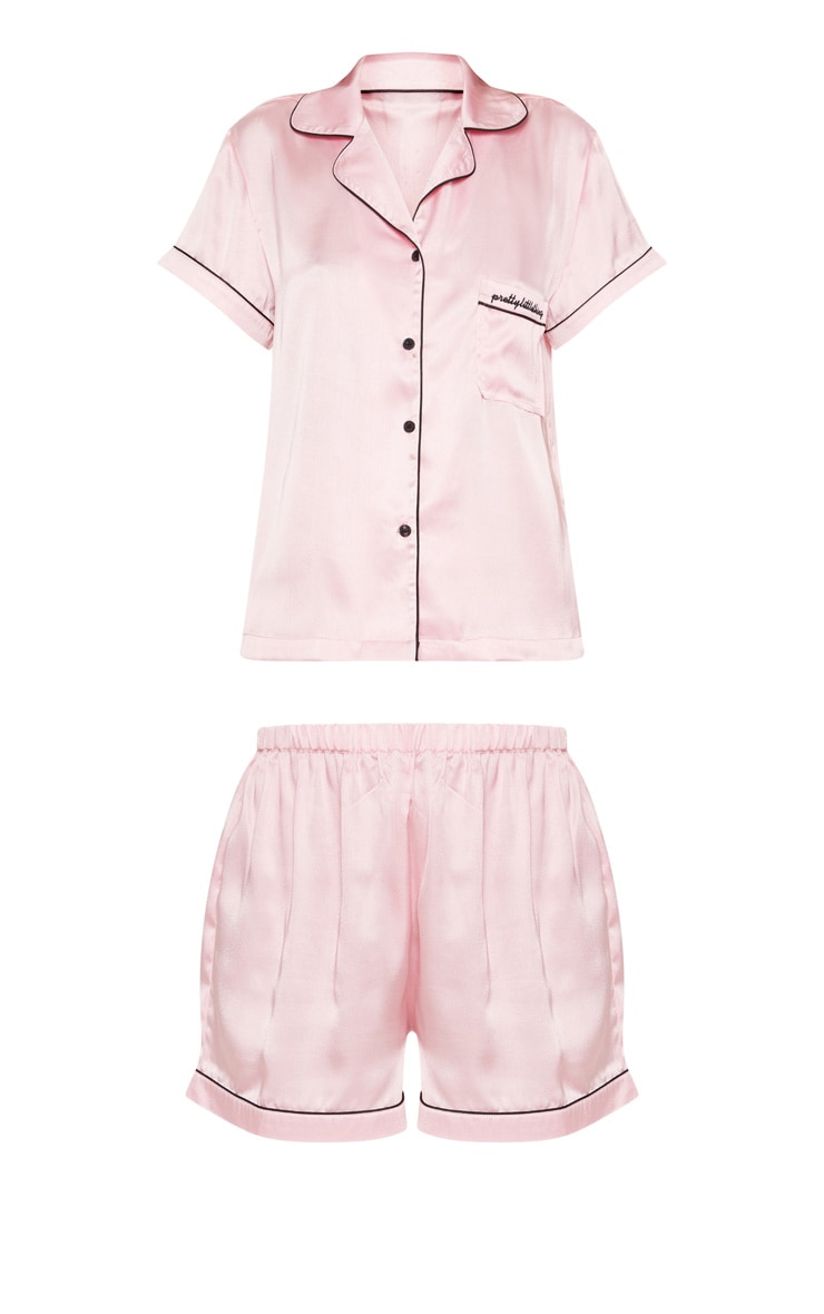 PRETTYLITTLETHING Pink Short Satin Pocket PJ Set 3