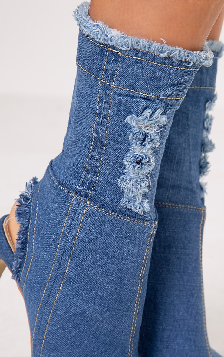Anya Blue Ripped Denim Cut out Sock Ankle Boots 6