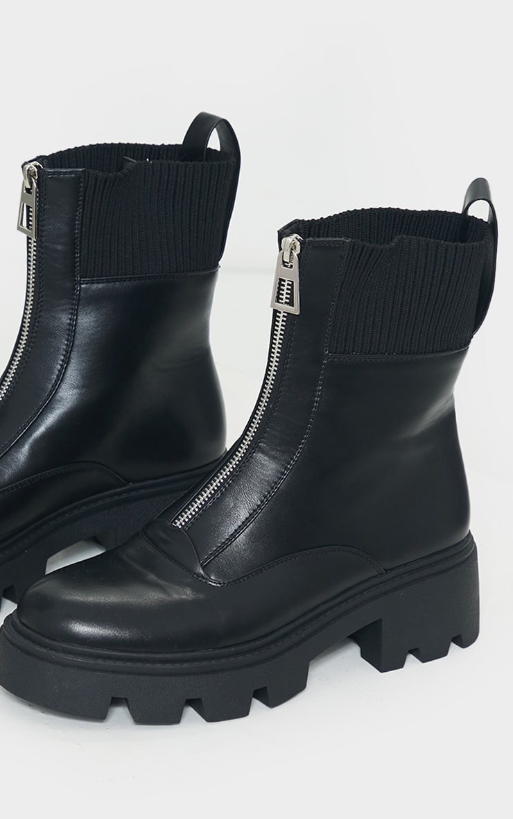 Black Zip Front Faux Leather Knit Collar Biker Boots 4