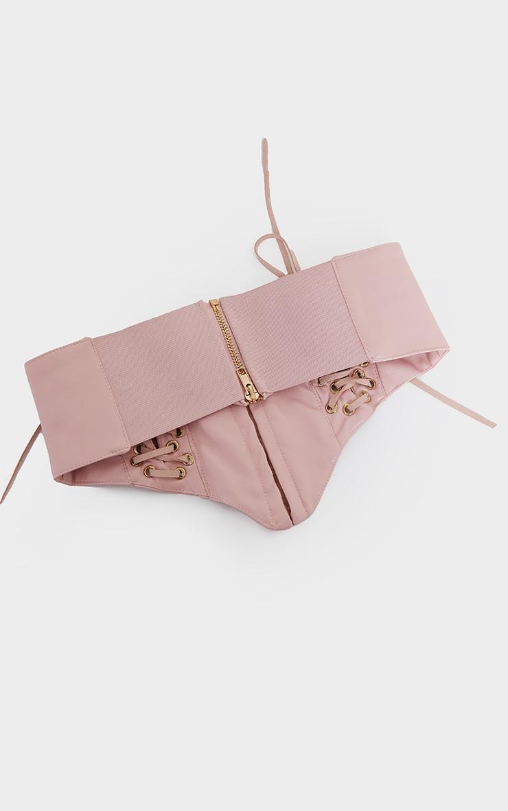 Pink PU Hook And Eye Corset Belt 3