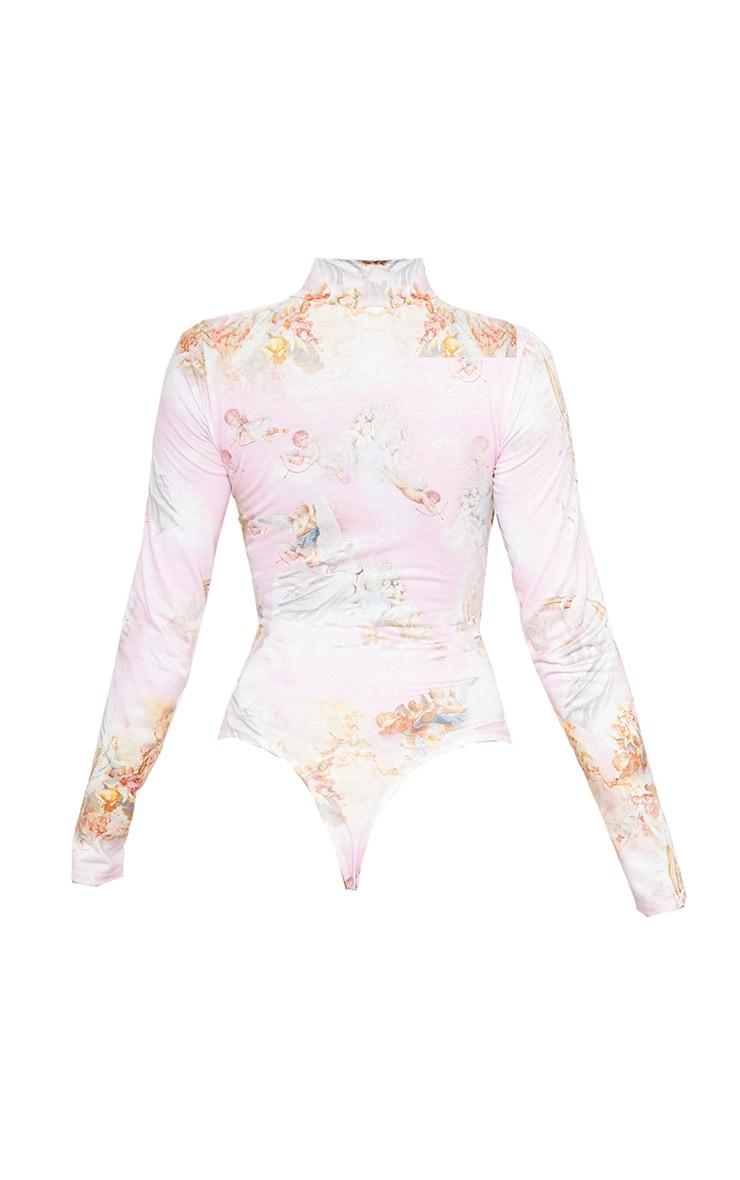 Baby Pink Renaissance Printed High Neck Long Sleeve Bodysuit 4