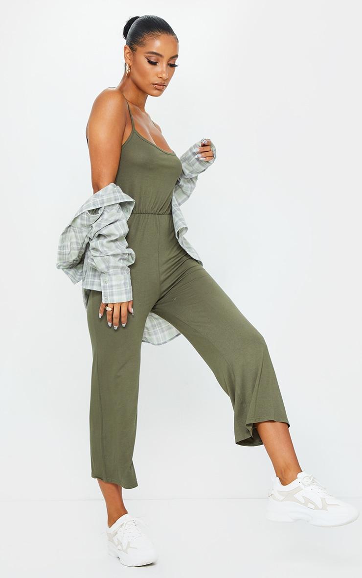 Khaki Strappy Jersey Culotte Jumpsuit 1
