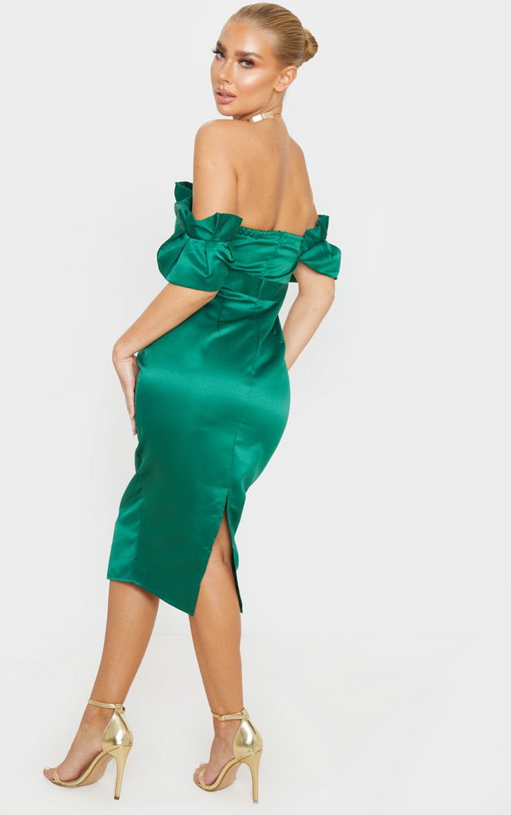 Emerald Green Bonded Satin Bardot Pleated Detail Midi Dress 2