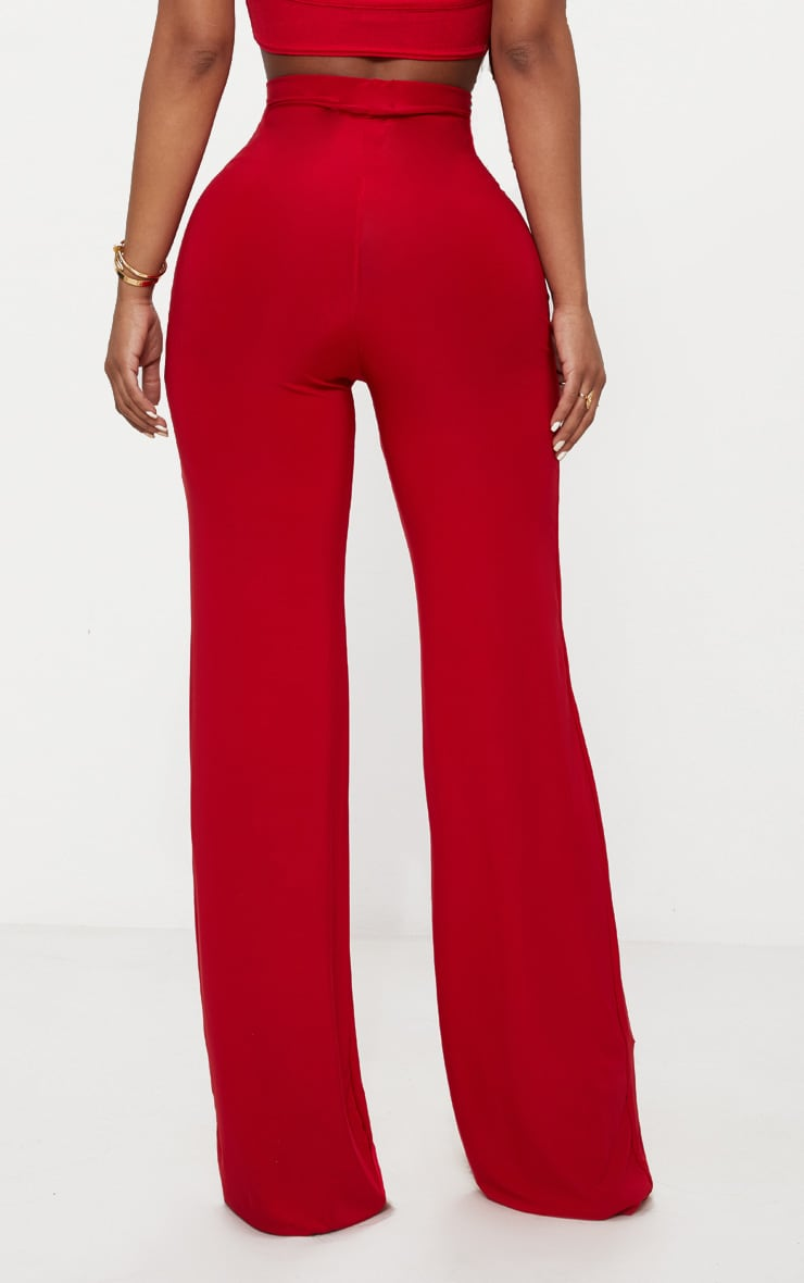Shape Red Slinky Wide Leg Trousers 3