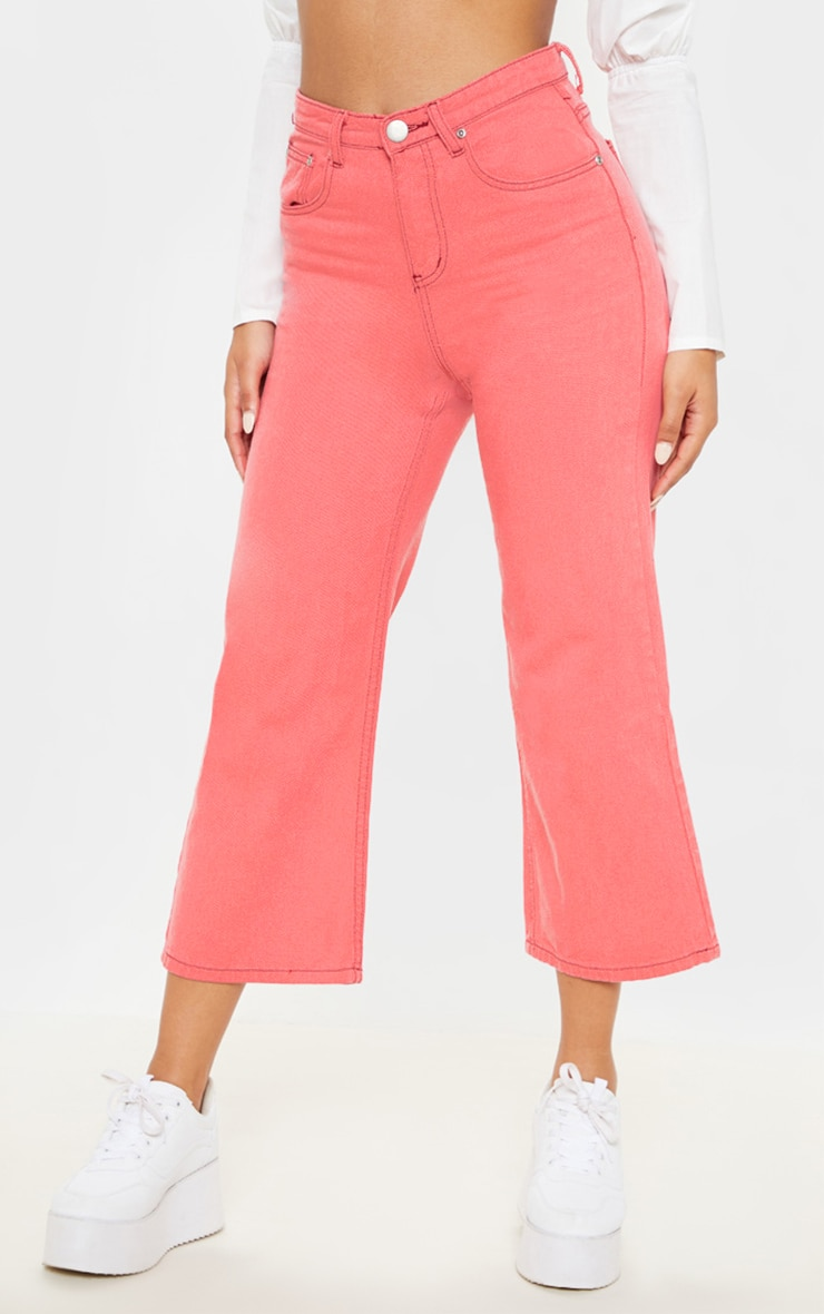 Washed Pink Wide Leg Utility Cargo Jeans 2