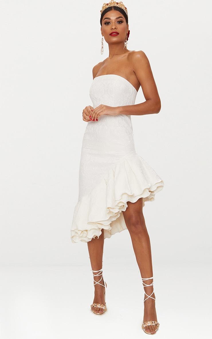 White Jacquard Bandeau Asymmetric Frill Hem Midi Dress 2