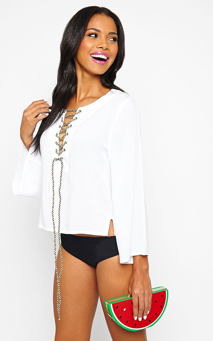 Mylie White Tie Front Top 5