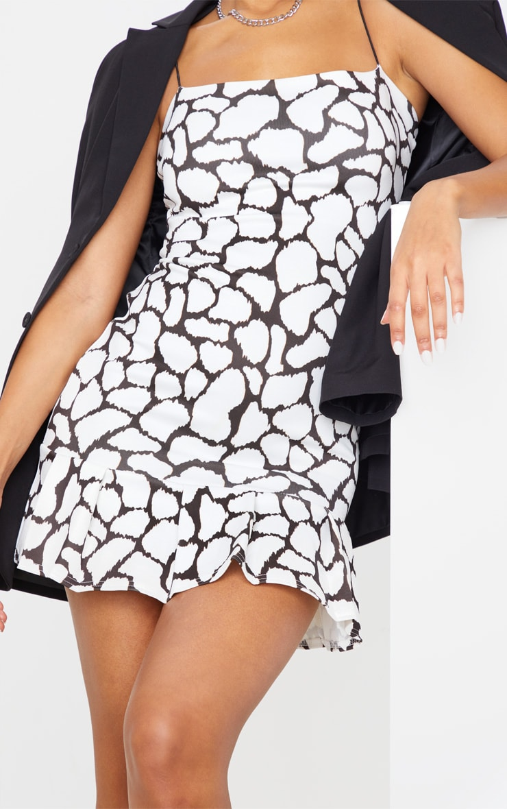 White Spot Print Scuba Frill Hem Bodycon Dress 5
