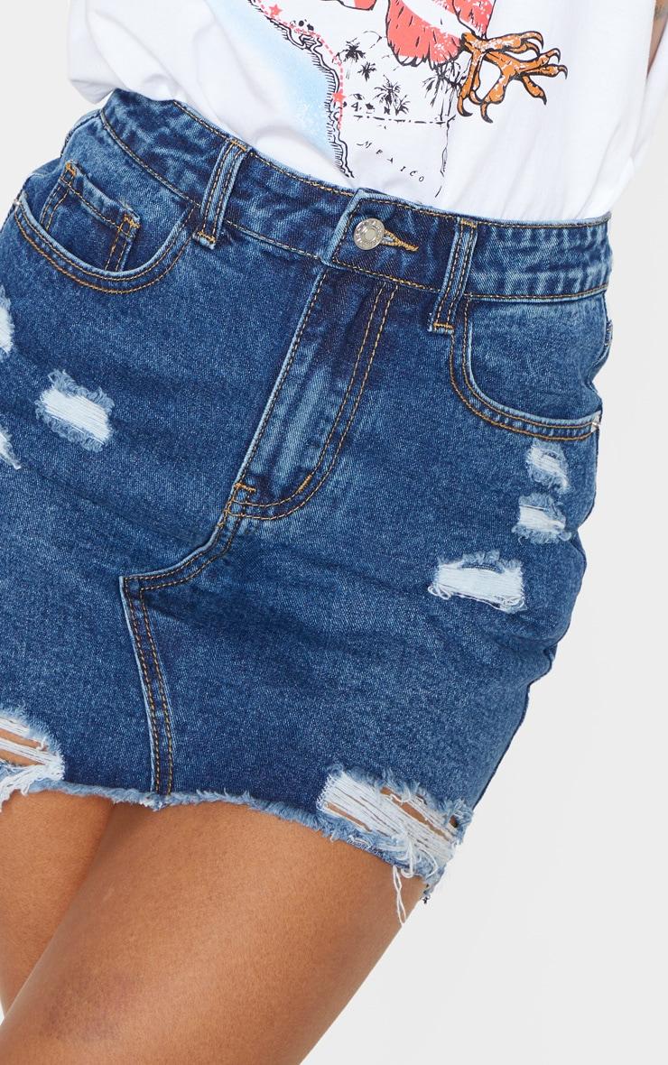 Dark Wash Distressed Mini Skirt 6
