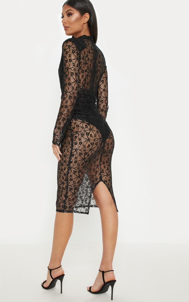 Black Lace High Neck Diamante Buckle Midi Dress 2