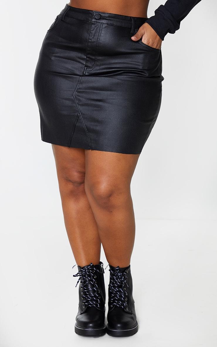 Plus Black Coated Denim Extreme Mini Skirt 2