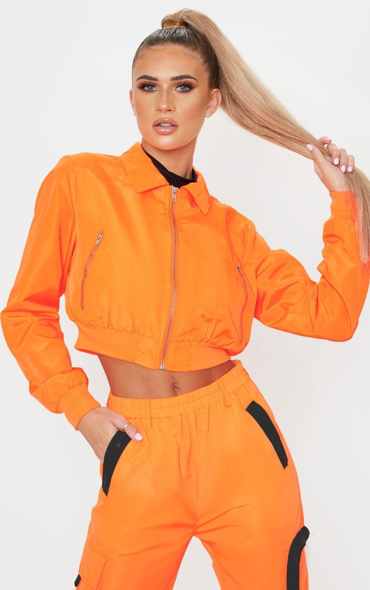 Neon Orange Zip Up Collar Bomber 1