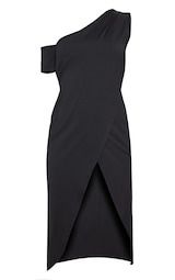 b440aa0de4df Black Slinky One Shoulder Wrap Midi Dress image 3