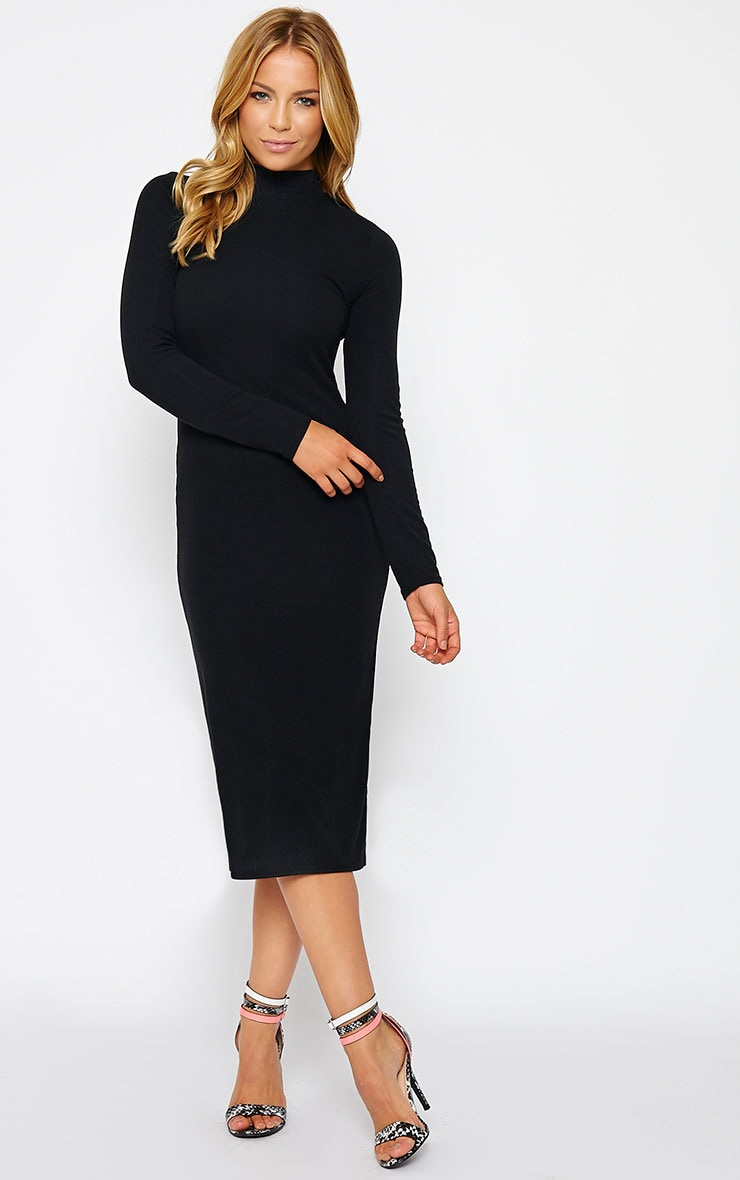 Basic Black Ribbed Turtle Neck Midi Dress 1