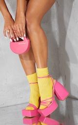 Pink Pu Square Toe Platform Strappy Heeled Sandals 2