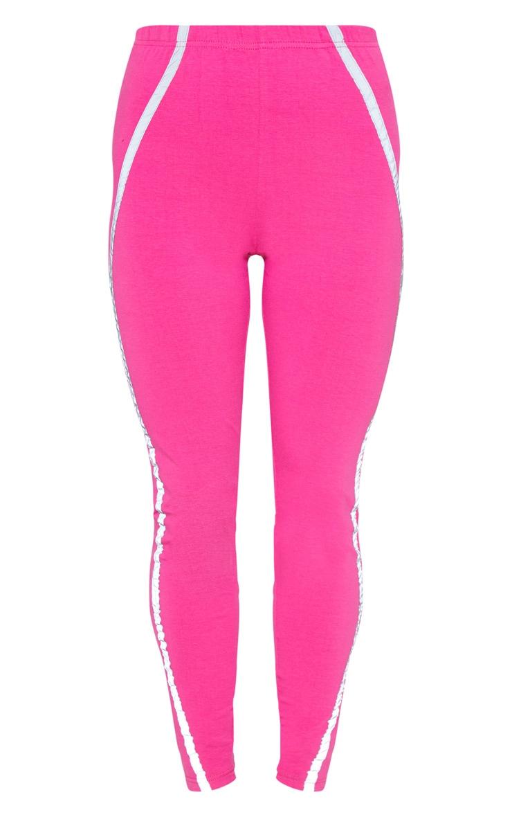 Hot Pink Reflective Tape Legging  3