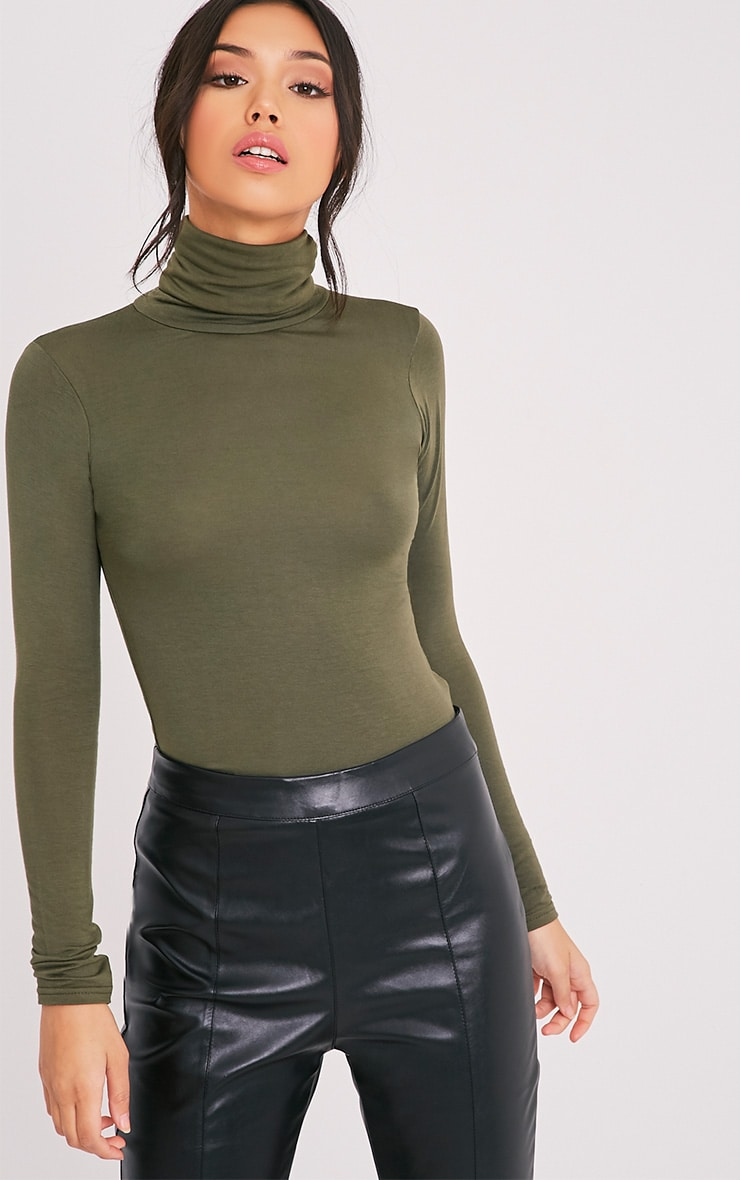 Basic Khaki Long Sleeve Roll Neck Top 4