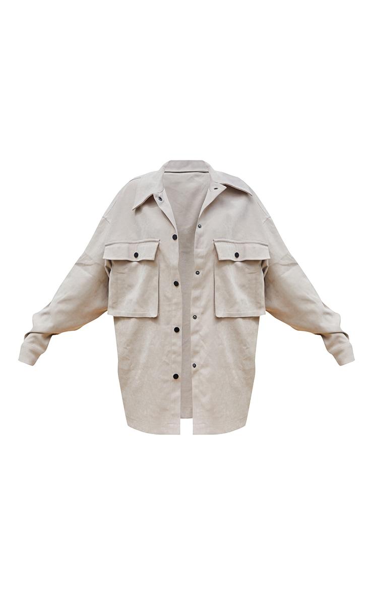 Stone Twill Pocket Detail Oversized Boxy Shirt 5