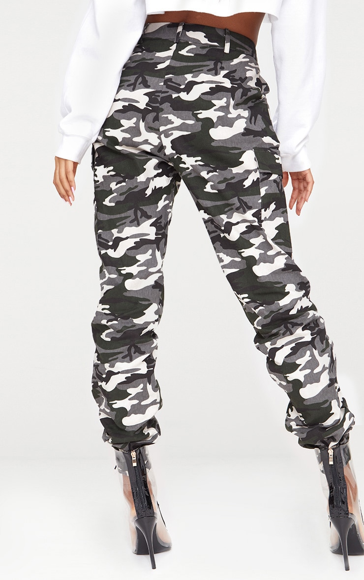 Grey Camo Print Cargo Trousers 4