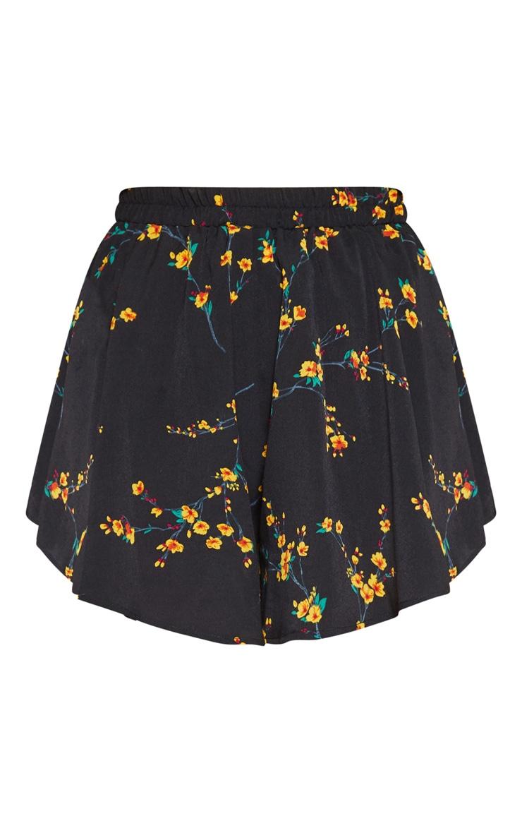 Black Ditsy Floral Floaty Short 3