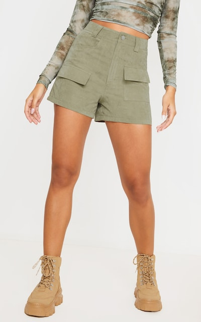 Olive Khaki Faux Suede Pocket Detail Short
