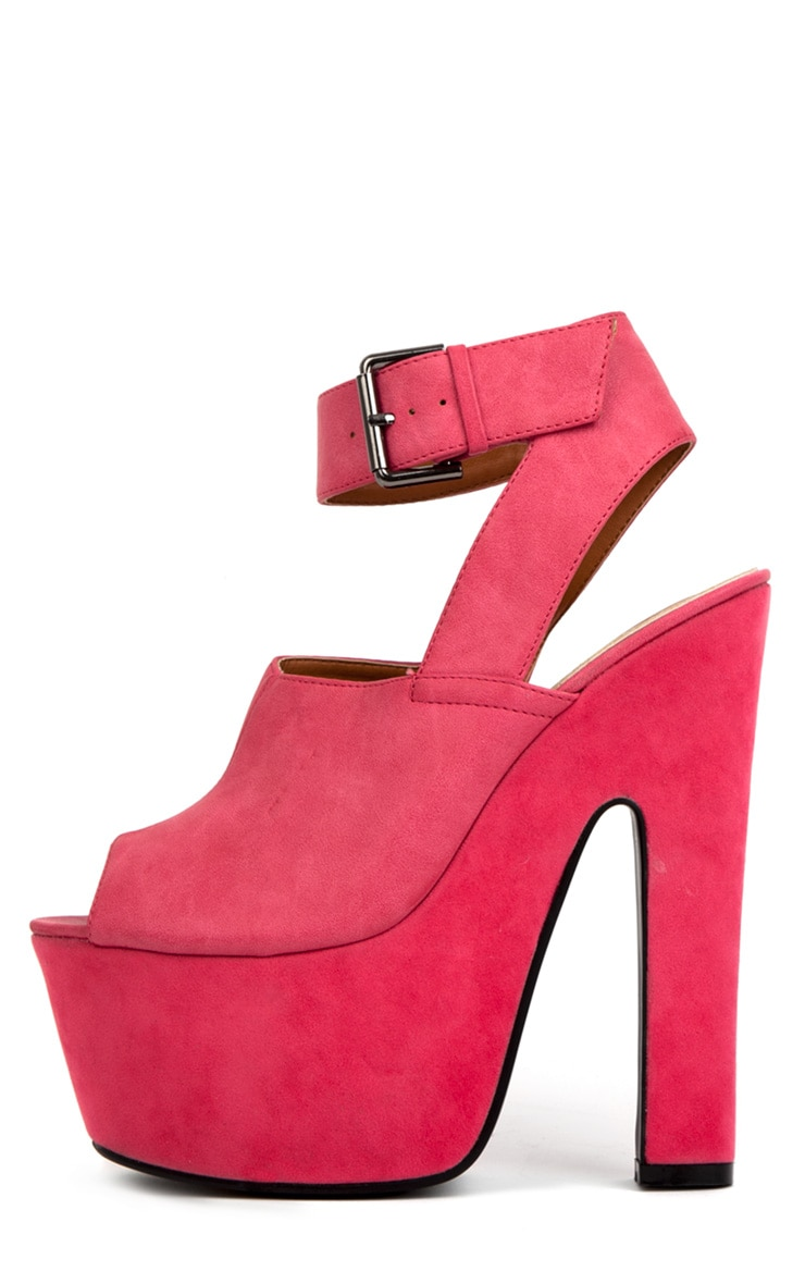 Sally Fuchsia Chunky Peeped Toe Heels 1