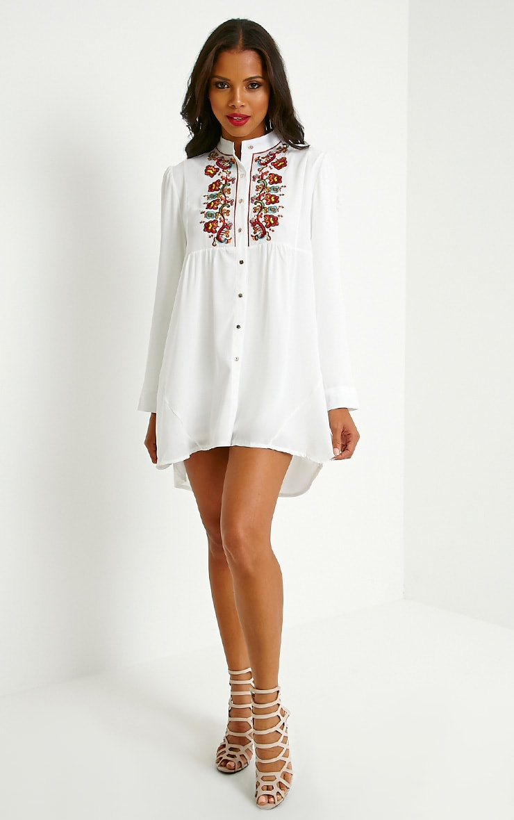 Melania White Embroidered Sheer Shirt Dress 3