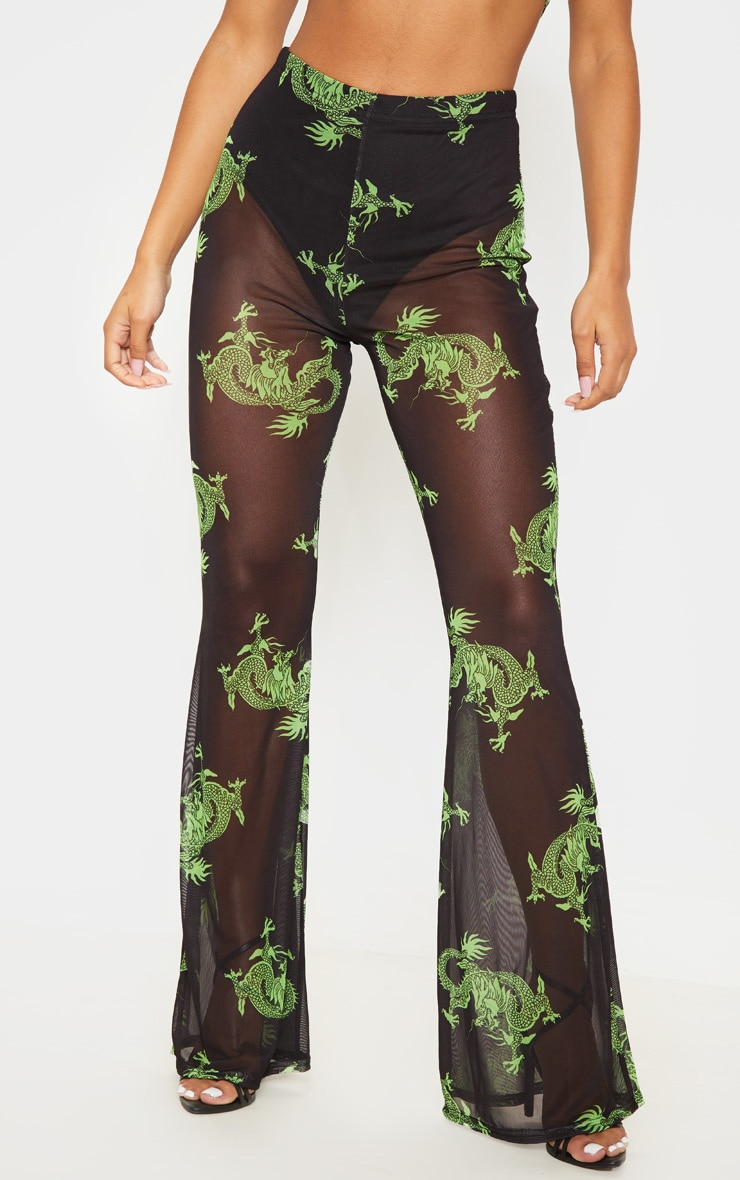 Green Dragon Printed Sheer Mesh Flare 2