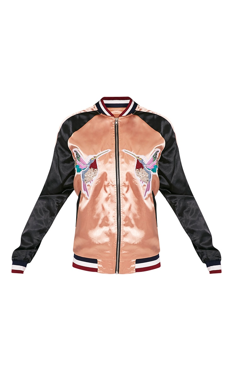 Tavie Champagne Satin Sequin Applique Bomber Jacket 5
