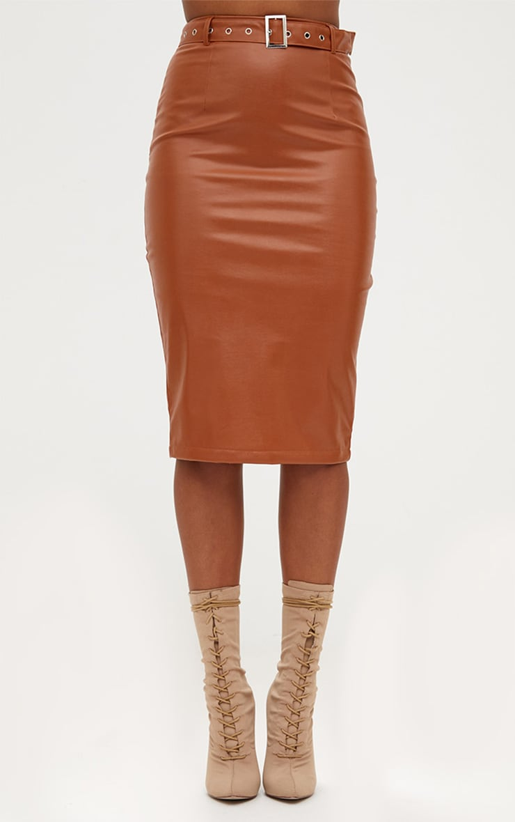 Tan Faux Leather Belted Midi Skirt 2