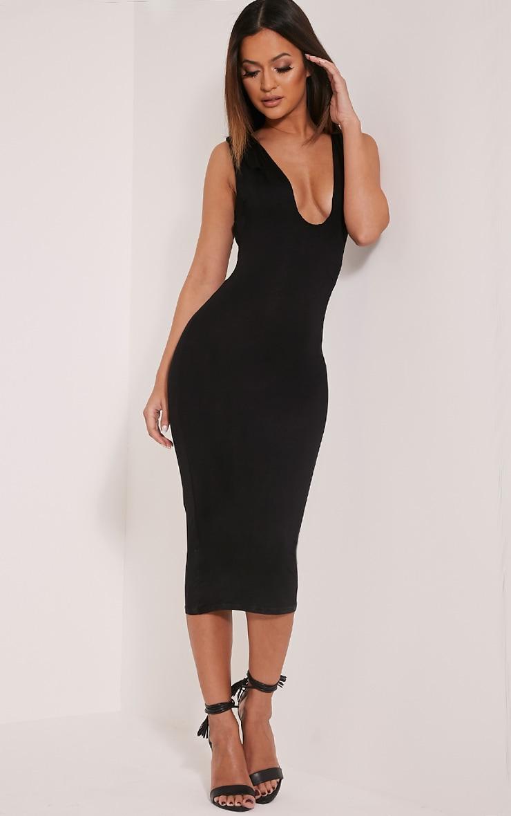 Basic Black Plunge Jersey Midi Dress 1