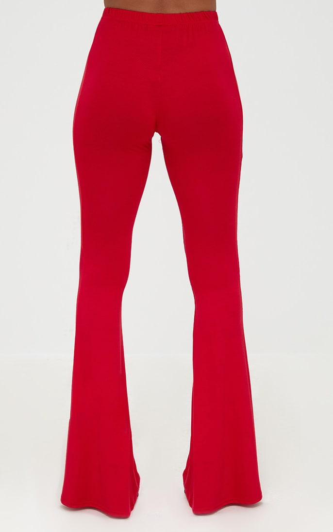 Petite Red Basic Flare Leg Pants 4