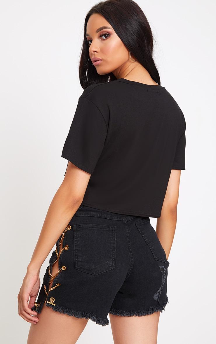 Black New York Slogan Ripped Crop T Shirt 2