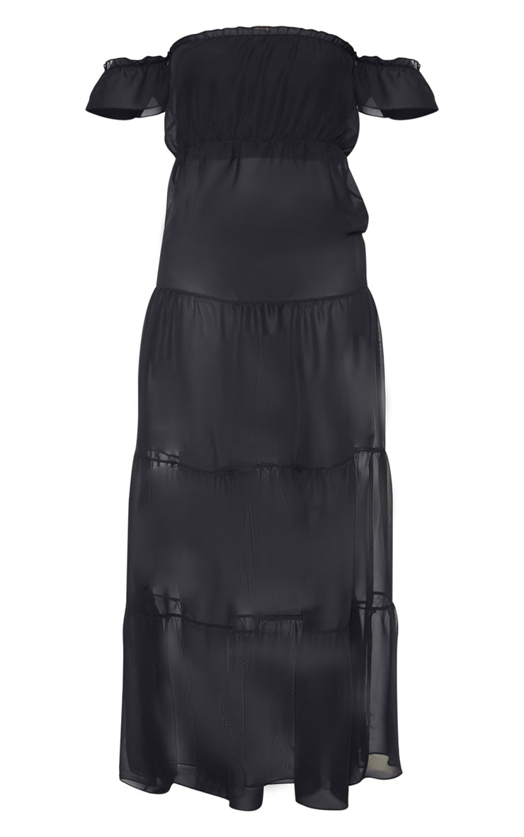 Black Bardot Frill Tiered Chiffon Maxi Beach Dress 3