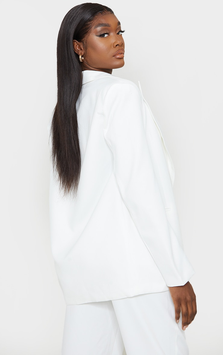 Tall White Oversized Shoulder Pad Suit Blazer 2