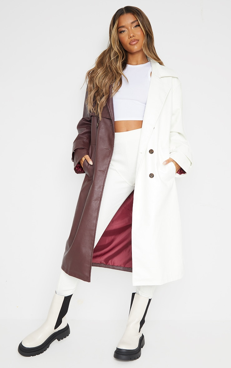 Chocolate Faux Leather Contrast Panel Front Trench 3