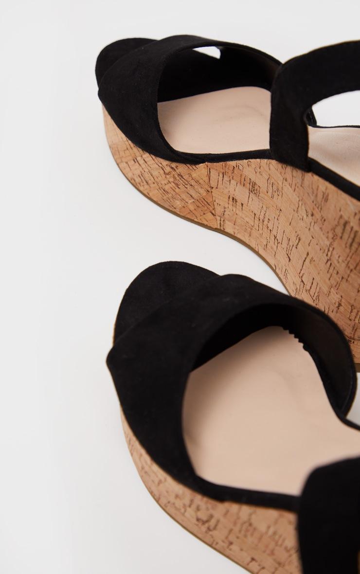 Black Ankle Tie Up Cork Wedge Sandal  3